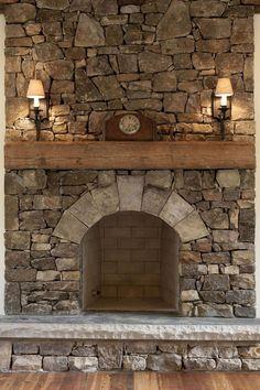 Rustic stone fireplaces photos rustic mantle original patina antique wood beams rustic fireplace decor home fireplace . Rustic Fireplace Decor, Cabin Fireplace, Simple Fireplace, Farmhouse Fireplace, Fireplace Remodel, Fireplace Surrounds, Fireplace Ideas, Fireplace Stone, Mantel Ideas
