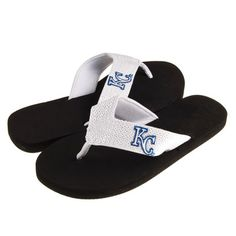 Kansas City Royals White and Black Sequin Womens Flip Flops