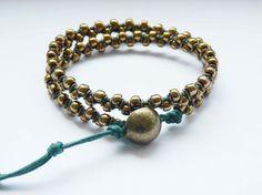 Double Wrap Ring Bracelet green&bronze boho special by MUSAjewels