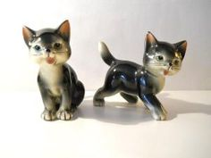 Vintage Black Cats  Collectible Japan Ceramic Figurines by ModDom
