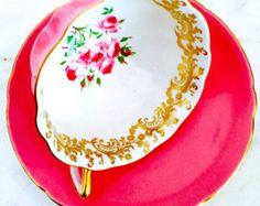 Shelley Pink Floral Gold Filigree 1940's Teacup and Saucer - Edit Listing - Etsy