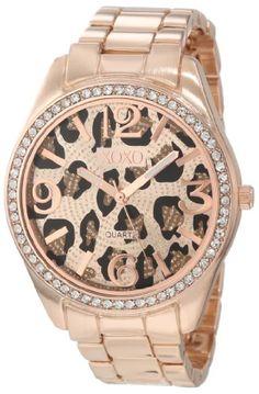 XOXO Women's XO5638 Rose Gold-Tone Leopard Dial Bracelet Watch