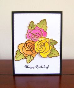 Today's card uses theSingle Rose by Paper Smooches. I cut it out on gold foiled cardstock three times.     For the background behin...