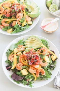 Tropical Shrimp Salad with a Honey Lime Vinaigrette | http://www.wickedspatula.com