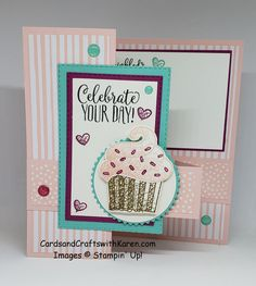 Card for the Paper Craft Crew Color challenge featuring Hello Cupcake SAB stamp set along with Petal Pink, Berry Burst & Coastal Cabana colors. Fun Fold Cards, Folded Cards, 3d Cards, Craft Cards, Card Making Tutorials, Making Ideas, Cupcake Card, Handmade Birthday Cards, Handmade Cards