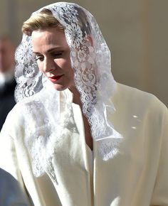 NewMyRoyals:  Monaco Royals Visit Pope Francis, Apostolic Palace, The Vatican, January 18, 2016-Princess Charlene exercised her right to privilege du blanc as the wife of a sovereign ruler