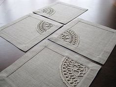 Set of 4 square table napkins from natural color linen fabric with crocheted linen yarn applique. Very versatile size: mini placemat or maxi coaster. Crochet Home, Hand Crochet, Selling Handmade Items, Mug Rugs, Linen Fabric, Grey Fabric, Table Covers, Hand Embroidery, Sewing Crafts