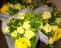 Mixed flower bouquet yellow (AFG-Worldwide South-Africa) Flower Bouquets, Flowers, South Africa, Table Decorations, Yellow, Inspiration, Home Decor, Biblical Inspiration, Floral Bouquets