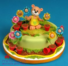 Teddy Bear & Sunflowers #cake