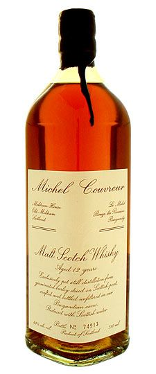 Michel Couvreur 12 year Unfiltered Vatted Single Malt Whisky 750ml  Michel Couvreur is a Belgian and an independent bottler of single malt scotch. His cellars are located in Bouze-les-Beaune in the heart of Burgundy. Michel ages his single malts for years in sherry butts and then in demijohns or giant bottles kept in total darkness in the exceptional well-protected underground galleries of Bouze-les-Beaune. Vatted from 54 whiskies aged more that 12 years (12 to 27 years) in oak casks