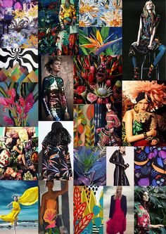 Matthew Williamson's studio's pin board of inspiration from the tropics in Trinidad and Tobago. Colour, heat and music pulsate from the Calypso collection. Feel the rhythm! Textile Pattern Design, Textile Patterns, Textiles, Cruise Collection, Tropical Pattern, Matthew Williamson, Studio S, Mood Boards, Color Inspiration