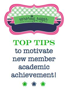 Scholarship can be a challenge for many new members. Motivate your pledges to keep their GPS's strong with TONS of tips and plans for academic achievement! <3 BLOG LINK: http://sororitysugar.tumblr.com/post/83142736550/sorority-q-a-new-member-academic-motivation#notes