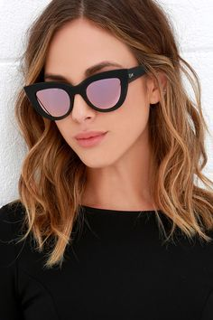 Channel your inner Jackie O. with the Quay Kitti Black and Pink Mirrored Cat Eye Sunglasses