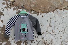 handmade robot applique shirt
