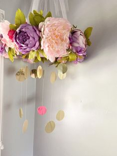 Beautiful Floral Nursery Mobile Lavender and Pinks   Etsy Nursery Letters, Nursery Themes, Newborn Photo Outfits, Hanging Crystals, First Birthday Photos, Floral Nursery, Floral Letters, Hanging Flowers, Gold Polka Dots