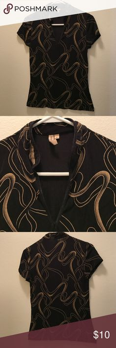Black blouse with Gold swirl designer Light breathable spandex material. Very comfortable fit. Tops Blouses