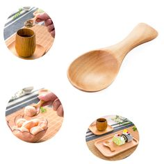 Short Handle Wood Shovel Spoon Teaspoon Wooden Spoon Ice Gream Spoons Child Safety Spoon