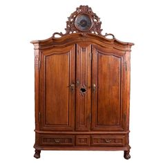 Rare Flemish Armoire in #Oak with Case #Clock, circa 1750 #thehighboystyle