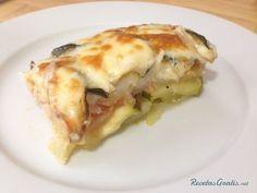 Pastel de patata y calabacín - Fácil Veggie Recipes, Cooking Recipes, Healthy Recipes, Veggie Food, Lasagna, Food And Drink, Veggies, Tasty, Meals