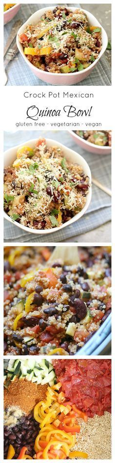 Easy slow cooker quinoa bowl made in the crock pot. Mexican quinoa recipe that is so easy. Toss tomatoes, quinoa, beans, peppers, taco seasoning in the crockpot. Simmer 4-6 hours and ready to serve! Vegetarian and vegan healthy recipe! | Delightful Mom Food