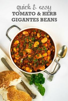 This Tomato & Herb Gigantes Beans recipe is a quick and easy version of the Greek meze dish Gigantes Plaki, with tinned butterbeans in a rich tomato sauce.