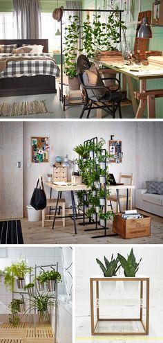 I kilka pomysłów na ruchome zielone parawany. Można je łatwo przestawiać. Wieszak na ubrania PORTIS, kwietnik SOCKER (dobrze Wam już znany), stojak na ręczniki z pojemnikami na sztućce GRUNDTAL (zdjęcie na dole, po lewej) oraz stolik IKEA PS 2012 z 4 miskami/miejscami na doniczki. Zobacz też materiał o barku RASKOG: www.tytuurzadzisz.pl/barek-raskog/