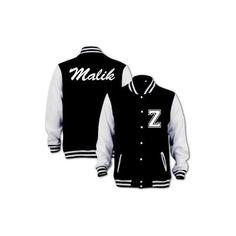 Bang Tidy Clothing Unisex Malik Varsity Jacket ($55) ❤ liked on Polyvore featuring outerwear, jackets, one direction, 1d, coats, varsity bomber jacket, black varsity jacket, unisex jackets, varsity style jacket and black letterman jacket