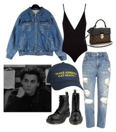 """denim"" by comerttaylan ❤ liked on Polyvore featuring Osklen, River Island, Dr. Martens and vintage"