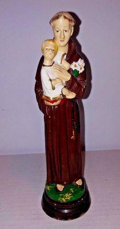 """VTG Saint Anthony Of Padua Figurine 8"""" Antique Made In Italy Catholic Wood Base"""