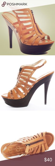 Jessica Simpson Gobow Tan Heel Sandals Size 8.5 Worn 1 time. Scuff marks on front as shown in 4th picture Jessica Simpson Shoes Sandals