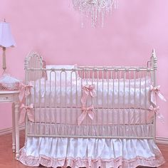 Barbie Crib Bedding   White and Pink Baby Bedding