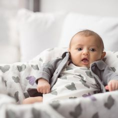Organic Luxury Muslin Always Blanket - Purple + Grey Bunny #organic #blanket #muslin #babyblanket