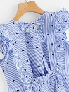 Frill Trim Open Back Bow Tie Detail Striped Top