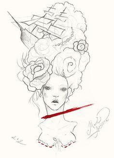 Marie Antoinette for doll Lucia Fashion Illustration Sketches, Drawing Sketches, Drawings, Illustrations, Face Profile Drawing, Narnia Costumes, Marie Antoinette, Aesthetic Art, Art Inspo