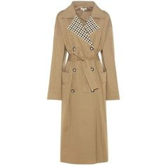 Isa Arfen Checked Collar Trench Coat (12 210 SEK) ❤ liked on Polyvore featuring outerwear, coats, beige, trench coat, beige coat and beige trench coat