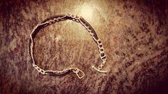 Bracelet argent 950 + fil cuir noir Réalisation complète à la main