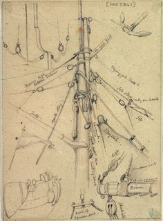 Rigging and other details probably relating to 951; including the main mast head, rudder tackle, anchor and flag,  by Edward William Cooke