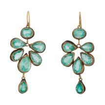 Judy Geib Colombian Emerald, Gold & Oxidized Silver Malta Earrings