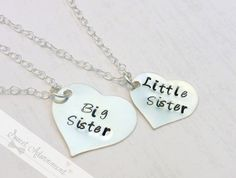 Big Sister - Little Sister - Hand Stamped Necklace Set