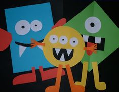 "Monsters: Have kids choose ""one triangle, two circles, etc...  or Have kids choose 3 eyes, 6 teeth, etc.. to help with counting and one to one correspondence.  Could throw in colors and shapes as well."