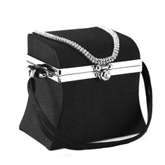 Use this satin bag as a cosmetic or jewelry case, or just stash your essentials inside and go. This small evening bag includes a structured shape, plus a built-in mirror inside.