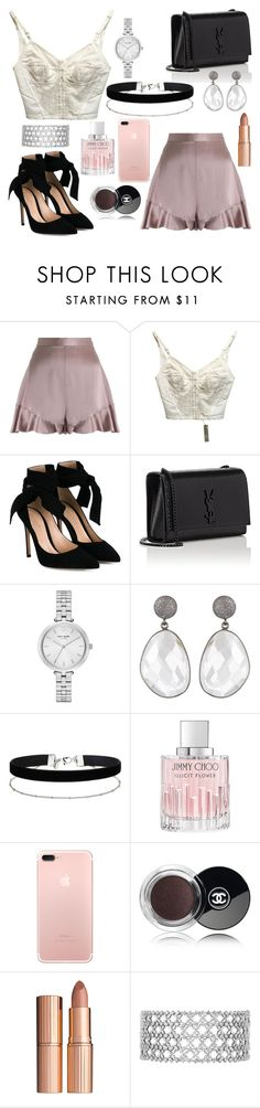 """""""Glam"""" by that-one-basic-girl ❤ liked on Polyvore featuring Zimmermann, Dolce&Gabbana, Gianvito Rossi, Yves Saint Laurent, Kate Spade, Miss Selfridge, Jimmy Choo, Chanel and Charlotte Tilbury"""