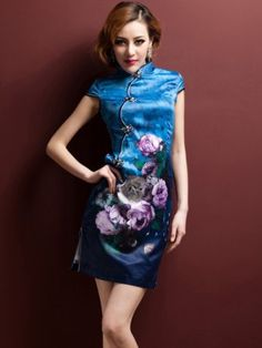 Blue Short Floral Cheongsam / Qipao / Chinese Dress