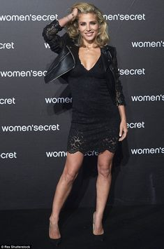 Racy in lace: Elsa Pataky stepped out at the Women's Secret presentation at Madrid's La Riviera club on Wednesday night , it was no surprise to see her rocking a sizzling all-black ensemble
