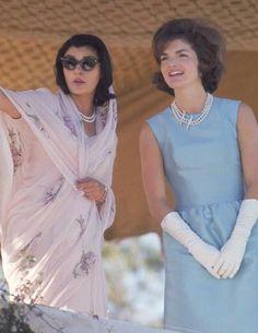 Gayatri Devi in a chiffon sari and pearls, with Jacqueline Kennedy. #sari…