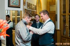 Downtown Fort Wayne Wedding. Fort Wayne and Indianapolis Photographers. Dustin and Corynn Photography. The groom and groomsmen getting ready