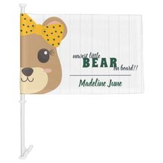 Baby Girl Bear Green & Gold Car Flag Exterior Car Accessories, Holiday Cards, Christmas Cards, Car Flags, Plastic Clips, Christmas Card Holders, Baby Accessories, Custom Cars, Green And Gold