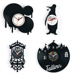 Creative clocks made out of old vinyl records cut into fun shapes.