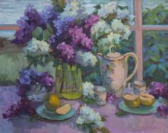 Painting - Lilacs And Tea by Diane McClary , Lilac Painting, Divine Mother, Impressionist Artists, Tea Art, Acrylic Art, All Print, Fine Art America, Oil On Canvas, Giclee Print