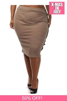 Plus Size Ribbed Side Stud Pencil Skirt